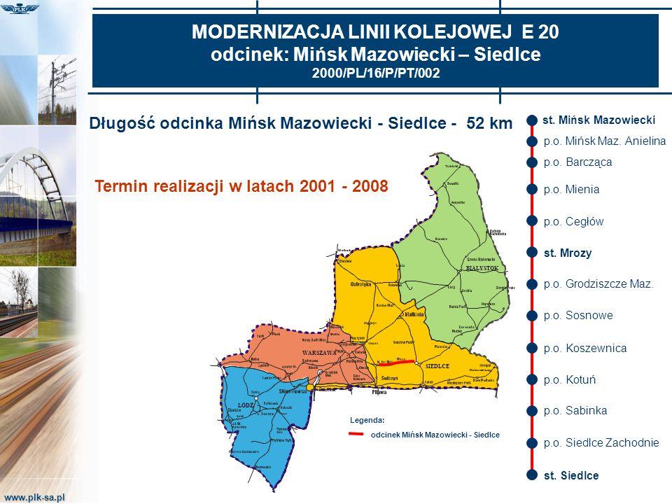 www.plk-sa.pl MODERNIZACJA LINII KOLEJOWEJ E 20 odcinek: Mińsk Mazowiecki – Siedlce 2000/PL/16/P/PT/002 Długość odcinka Mińsk Mazowiecki - Siedlce - 5