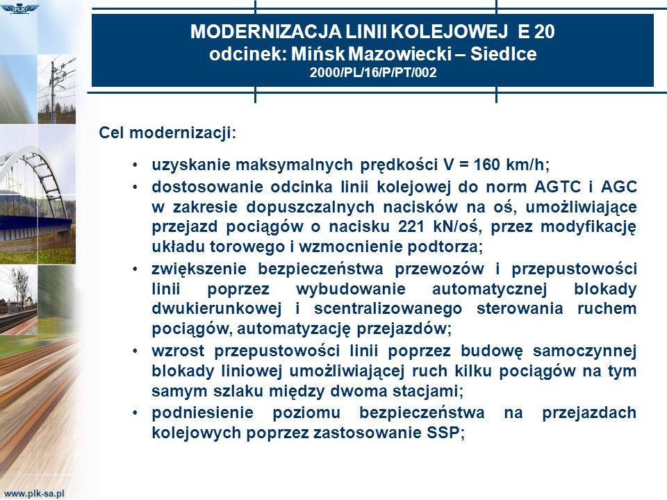 www.plk-sa.pl MODERNIZACJA LINII KOLEJOWEJ E 20 odcinek: Mińsk Mazowiecki – Siedlce 2000/PL/16/P/PT/002 Cel modernizacji: uzyskanie maksymalnych prędk