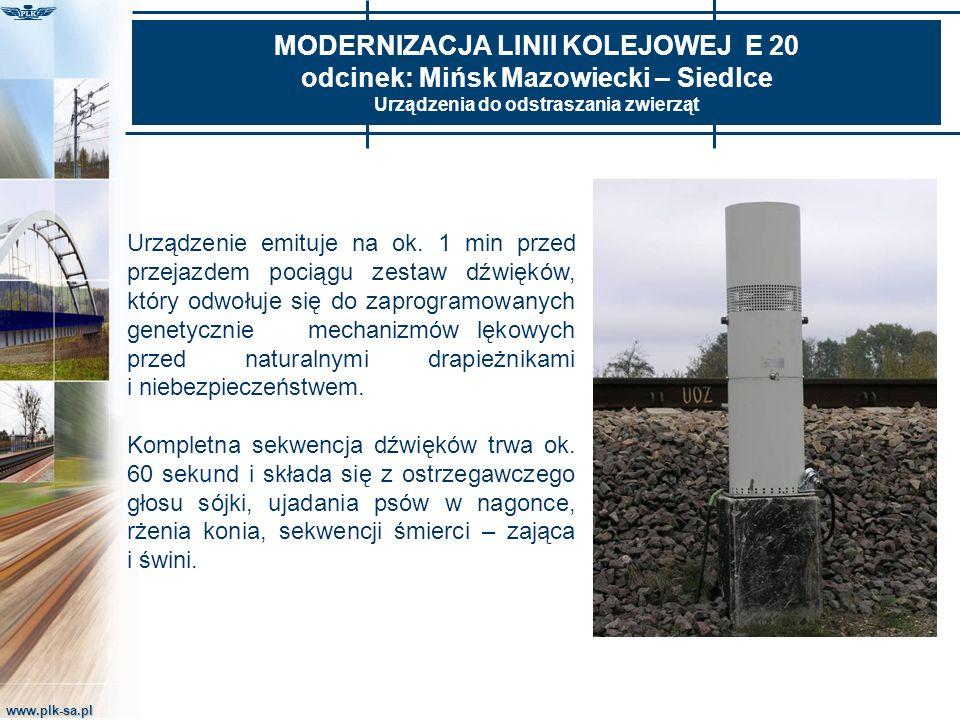 www.plk-sa.pl MODERNIZACJA LINII KOLEJOWEJ E 20 odcinek: Mińsk Mazowiecki – Siedlce Urządzenia do odstraszania zwierząt Urządzenie emituje na ok. 1 mi