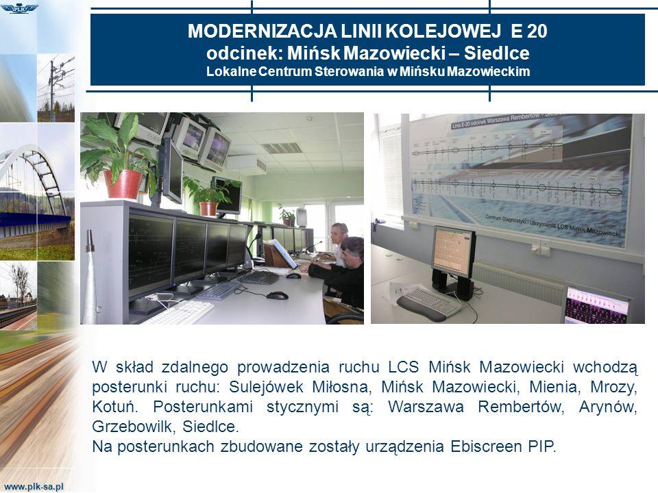 www.plk-sa.pl MODERNIZACJA LINII KOLEJOWEJ E 20 odcinek: Mińsk Mazowiecki – Siedlce Lokalne Centrum Sterowania w Mińsku Mazowieckim W skład zdalnego p
