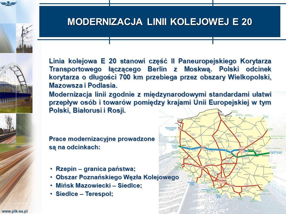 www.plk-sa.pl MODERNIZACJA LINII KOLEJOWEJ E 20 Rzepin – granica państwa;Rzepin – granica państwa; Obszar Poznańskiego Węzła KolejowegoObszar Poznańsk