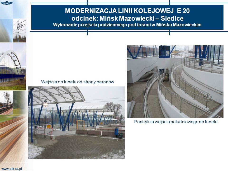 www.plk-sa.pl MODERNIZACJA LINII KOLEJOWEJ E 20 odcinek: Mińsk Mazowiecki – Siedlce Wykonanie przejścia podziemnego pod torami w Mińsku Mazowieckim Po