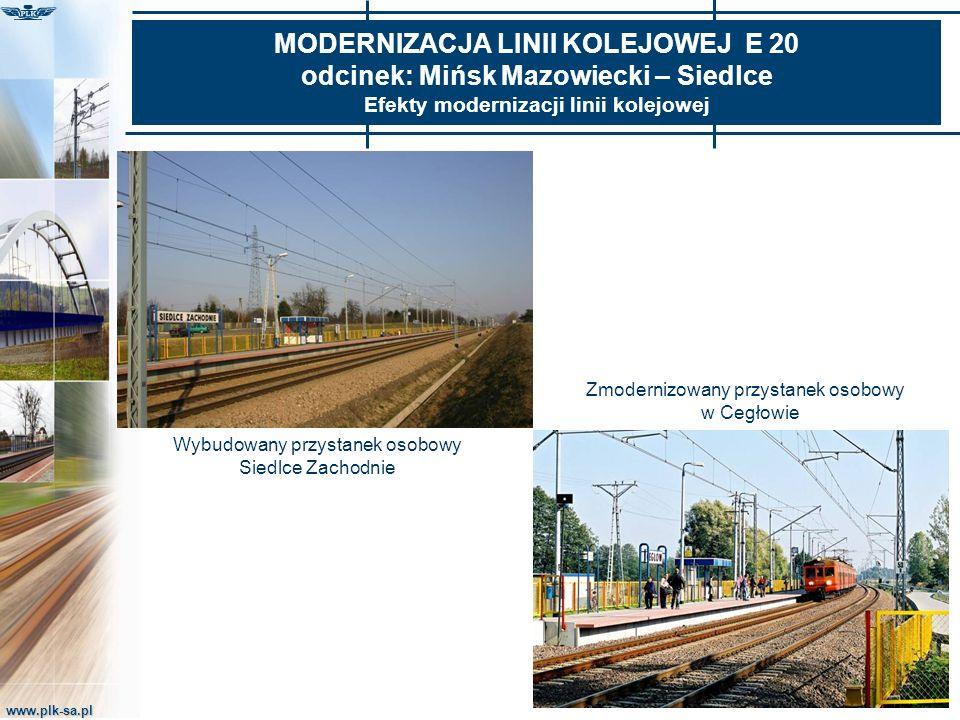 www.plk-sa.pl MODERNIZACJA LINII KOLEJOWEJ E 20 odcinek: Mińsk Mazowiecki – Siedlce Efekty modernizacji linii kolejowej Wybudowany przystanek osobowy