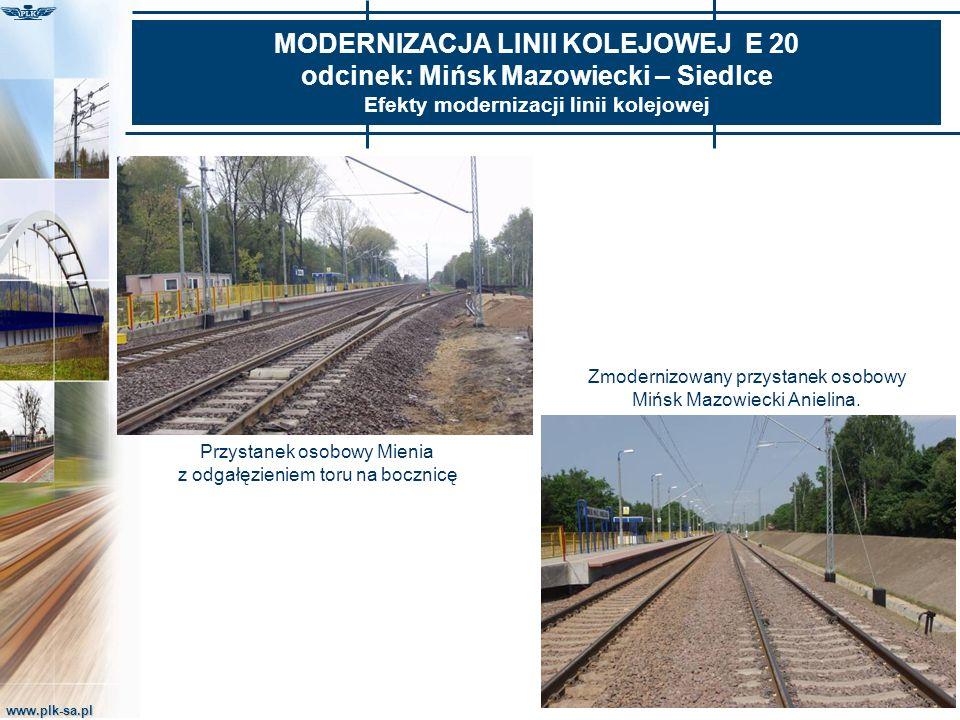 www.plk-sa.pl MODERNIZACJA LINII KOLEJOWEJ E 20 odcinek: Mińsk Mazowiecki – Siedlce Efekty modernizacji linii kolejowej Przystanek osobowy Mienia z od