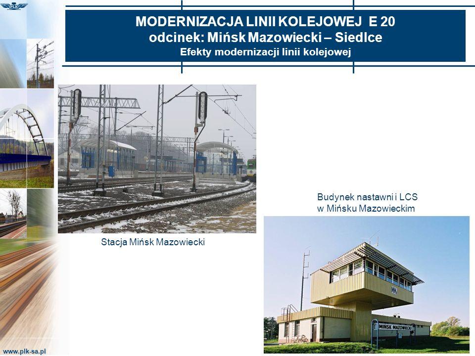 www.plk-sa.pl MODERNIZACJA LINII KOLEJOWEJ E 20 odcinek: Mińsk Mazowiecki – Siedlce Efekty modernizacji linii kolejowej Budynek nastawni i LCS w Mińsk