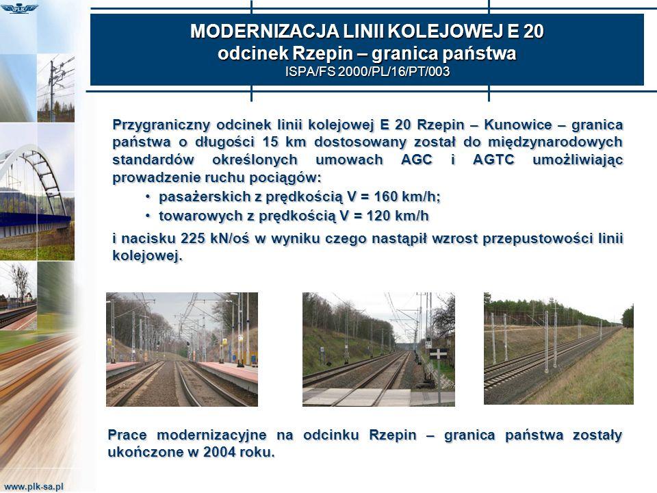 www.plk-sa.pl MODERNIZACJA LINII KOLEJOWEJ E 20 odcinek Rzepin – granica państwa ISPA/FS 2000/PL/16/PT/003 Przygraniczny odcinek linii kolejowej E 20