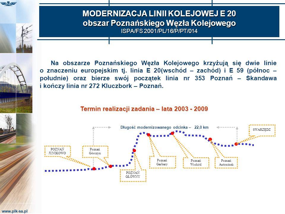 www.plk-sa.pl MODERNIZACJA LINII KOLEJOWEJ E 20 obszar Poznańskiego Węzła Kolejowego ISPA/FS 2001/PL/16/P/PT/014 POZNAŃ JUNIKOWO Poznań Antoninek Pozn