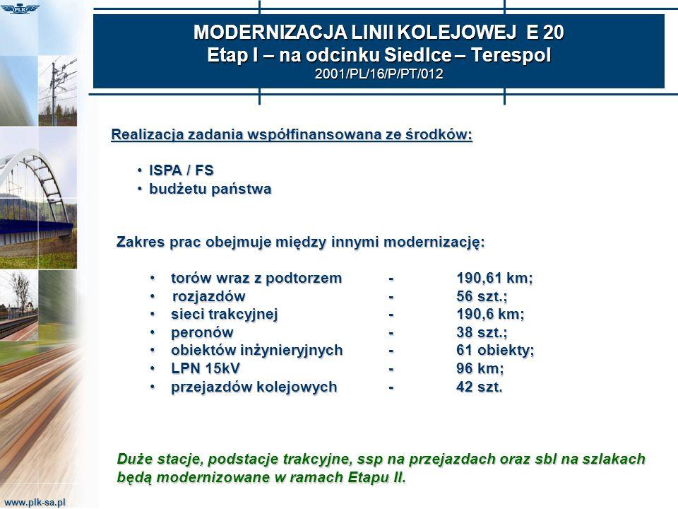 www.plk-sa.pl MODERNIZACJA LINII KOLEJOWEJ E 20 Etap I – na odcinku Siedlce – Terespol 2001/PL/16/P/PT/012 Realizacja zadania współfinansowana ze środ