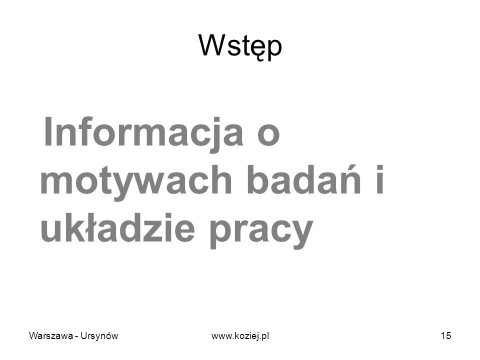 Wstęp Informacja o motywach badań i układzie pracy Warszawa - Ursynów15www.koziej.pl