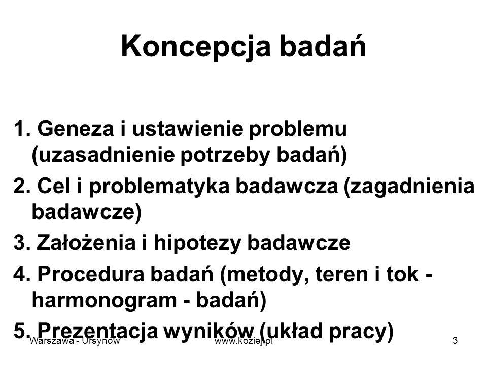 Geneza problemu Diagnoza stanu rzeczy identyfikacja obszaru niewiedzy - stwierdzenie istnienia problemu –problemy subiektywne (dydaktyczne) i obiektywne (badawcze) obiektywizacja (odsubiektywizowanie) niewiedzy - przegląd literatury uzasadnienie obiektywnej potrzeby (teoretycznej lub praktycznej) usunięcia niewiedzy (luki w wiedzy) Warszawa - Ursynów4www.koziej.pl