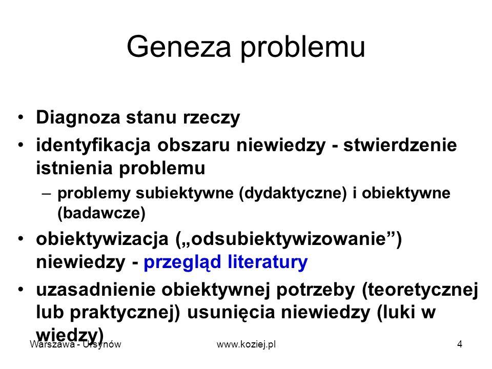 Cel badań druga strona potrzeby badań zdecydowanie się na realizację potrzeby - na rozwiązanie problemu w drodze badań naukowych - prowadzi wprost do ustanowienia celu badań Cel: po co się prowadzi badania, co zamierza się osiągnąć w ich rezultacie Warszawa - Ursynów5www.koziej.pl
