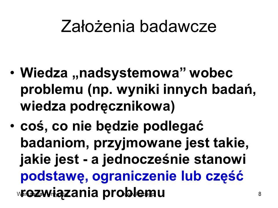 Hipotezy naukowe Przypuszczenia co do rozwiązania problemu próbne (wstępne) odpowiedzi na pytania badawcze tezy, które będą weryfikowane w toku badań hipotezy wstępne, robocze, rozwinięte, końcowe Warszawa - Ursynów9www.koziej.pl
