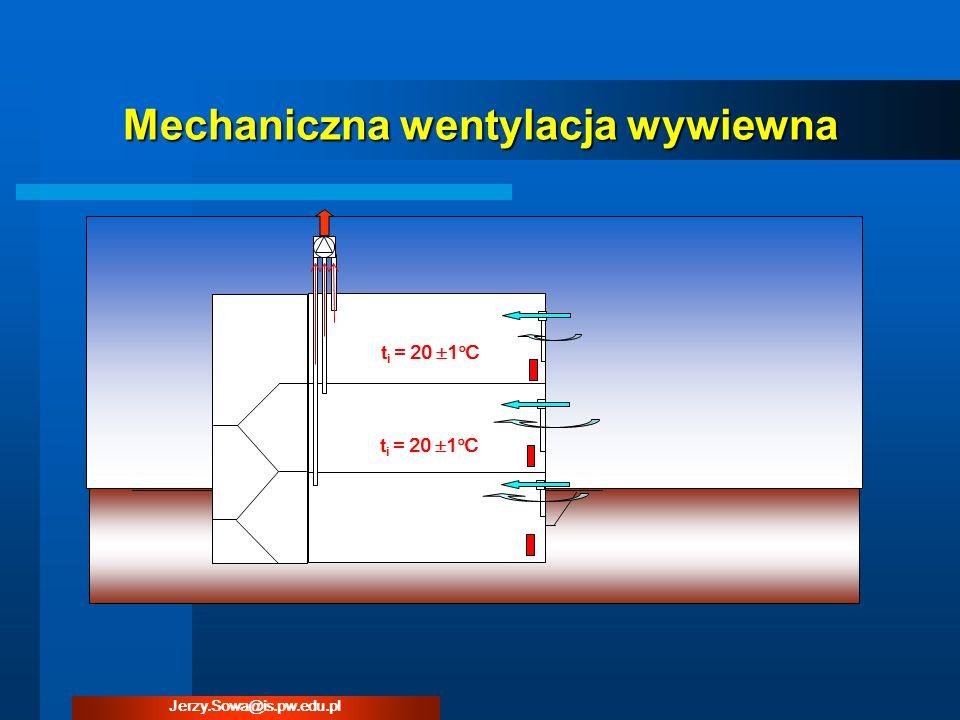 Mechaniczna wentylacja wywiewna t i = 20 1 C Jerzy.Sowa@is.pw.edu.pl