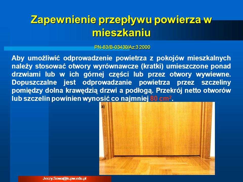 Aby umożliwić odprowadzenie powietrza z pokojów mieszkalnych należy stosować otwory wyrównawcze (kratki) umieszczone ponad drzwiami lub w ich górnej c