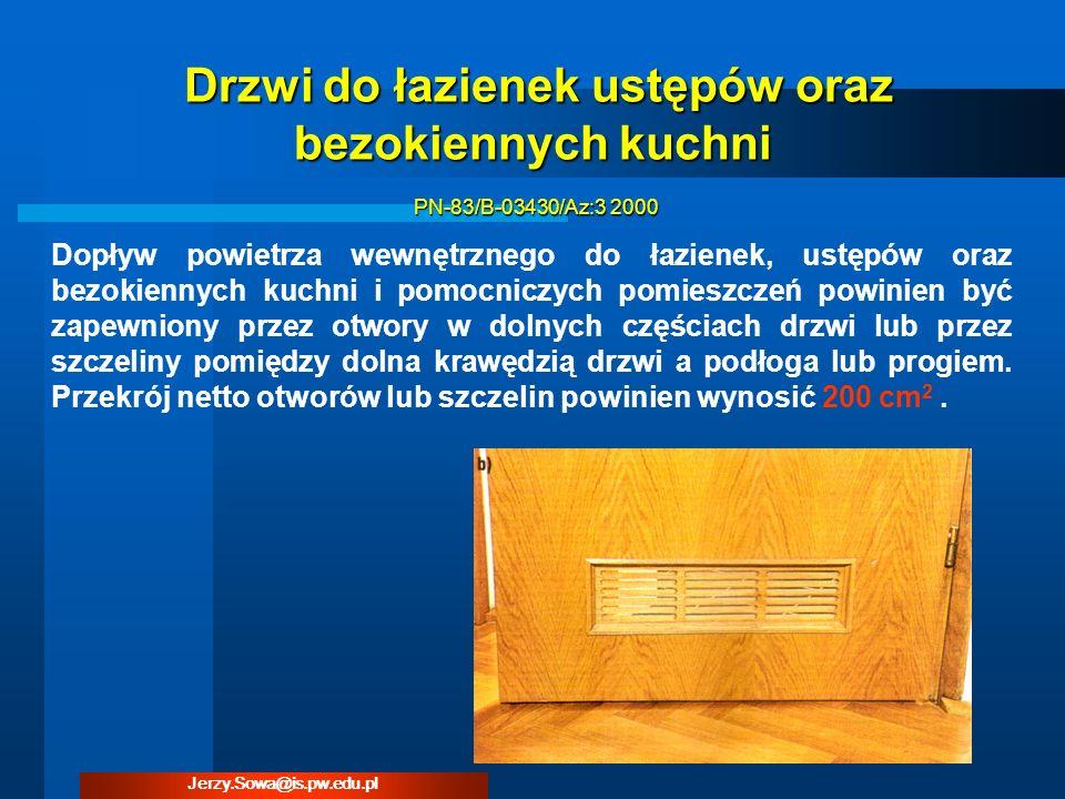Dopływ powietrza wewnętrznego do łazienek, ustępów oraz bezokiennych kuchni i pomocniczych pomieszczeń powinien być zapewniony przez otwory w dolnych