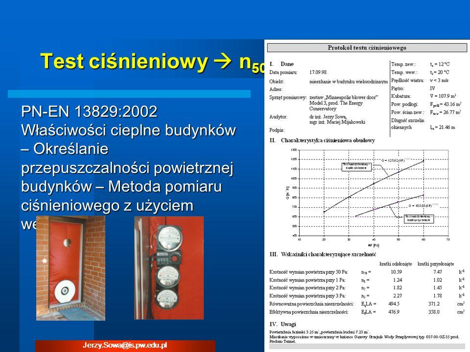 Test ciśnieniowy n 50 PN-EN 13829:2002 Właściwości cieplne budynków – Określanie przepuszczalności powietrznej budynków – Metoda pomiaru ciśnieniowego