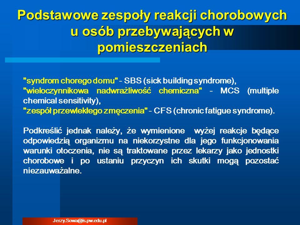 Przepływ powietrza przez szczeliny gdzie: Vstrumień powietrza przenikającego przez okno, m 3 /h awspółczynnik infiltracji, m 3 /(h·m·daPa 2/3 ) l łączna długość szczelin, m Próżnica ciśnienia po obu stronach okna, daPa nwykładnik równania, - (przyjęto 2/3) Jerzy.Sowa@is.pw.edu.pl