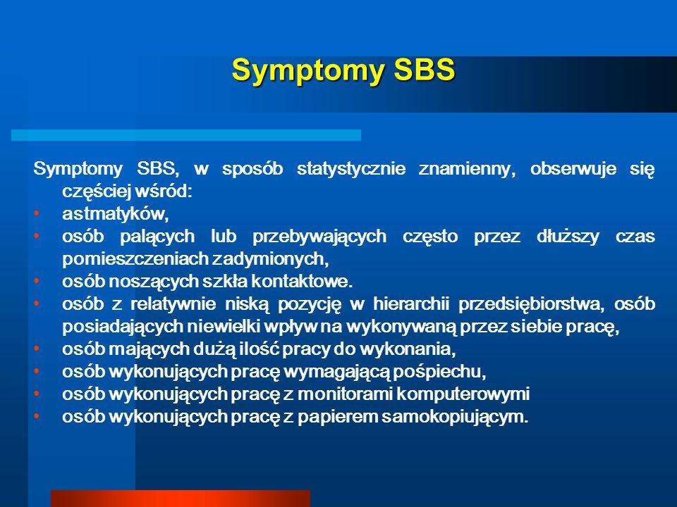 Symptomy SBS Symptomy SBS, w sposób statystycznie znamienny, obserwuje się częściej wśród: astmatyków, osób palących lub przebywających często przez d