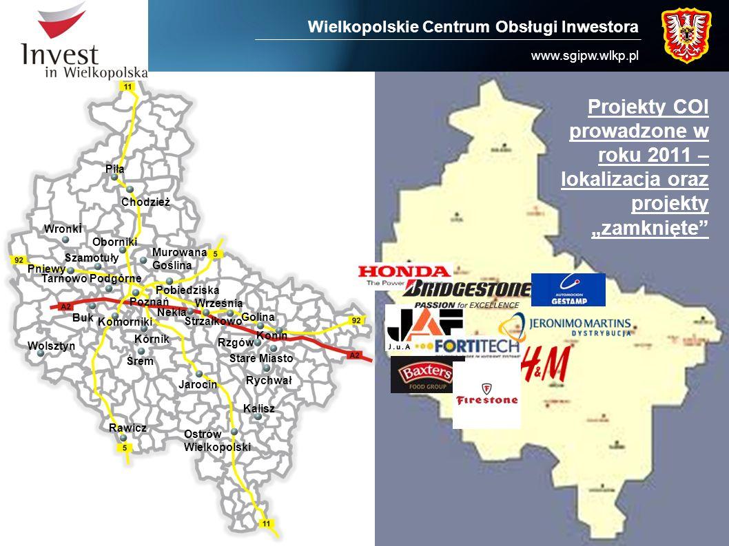 Wielkopolskie Centrum Obsługi Inwestora www.sgipw.wlkp.pl Projekty COI prowadzone w roku 2011 – lokalizacja oraz projekty zamknięte Piła Wronk i Pniew