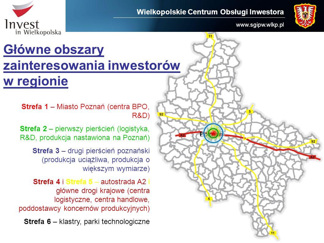 Wielkopolskie Centrum Obsługi Inwestora www.sgipw.wlkp.pl Główne obszary zainteresowania inwestorów w regionie Poznań Strefa 1 – Miasto Poznań (centra