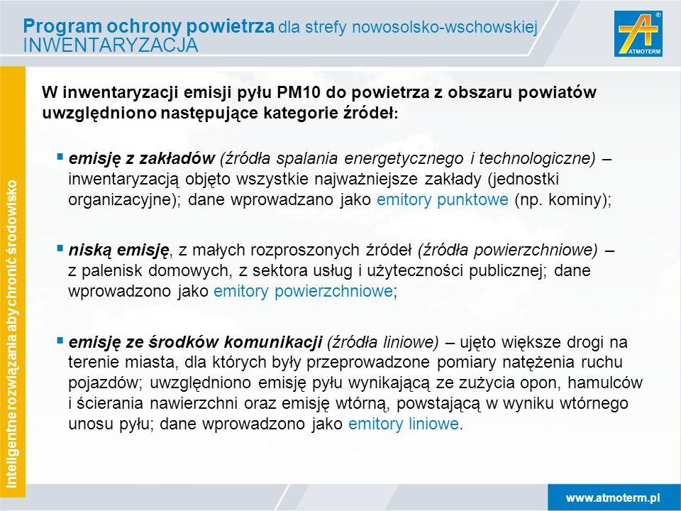 www.atmoterm.pl Inteligentne rozwiązania aby chronić środowisko W inwentaryzacji emisji pyłu PM10 do powietrza z obszaru powiatów uwzględniono następu