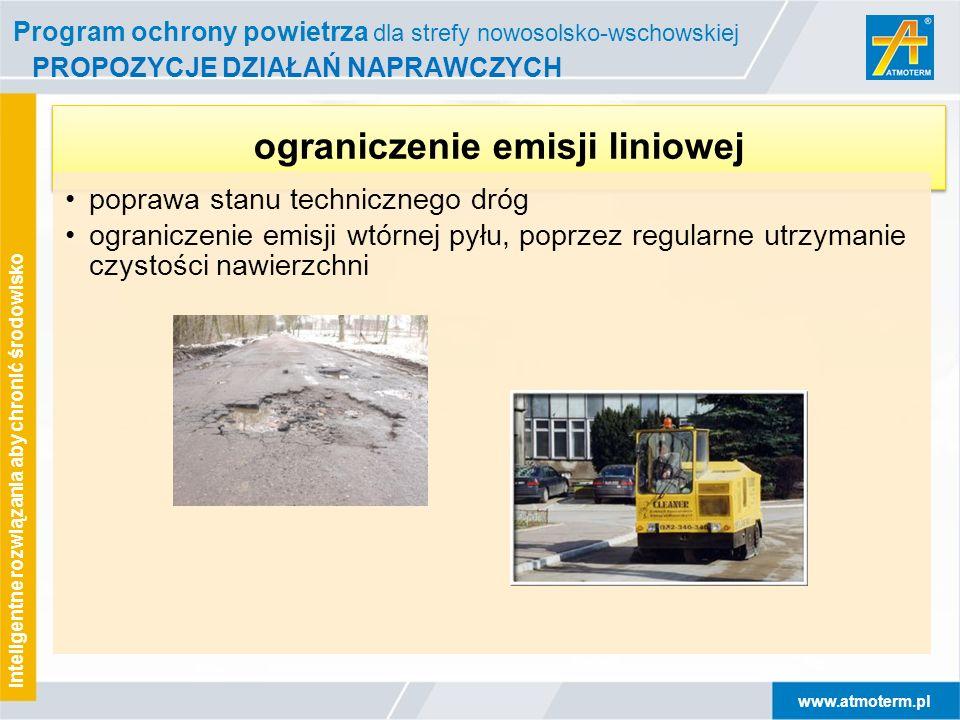 www.atmoterm.pl Inteligentne rozwiązania aby chronić środowisko PROPOZYCJE DZIAŁAŃ NAPRAWCZYCH ograniczenie emisji liniowej poprawa stanu technicznego
