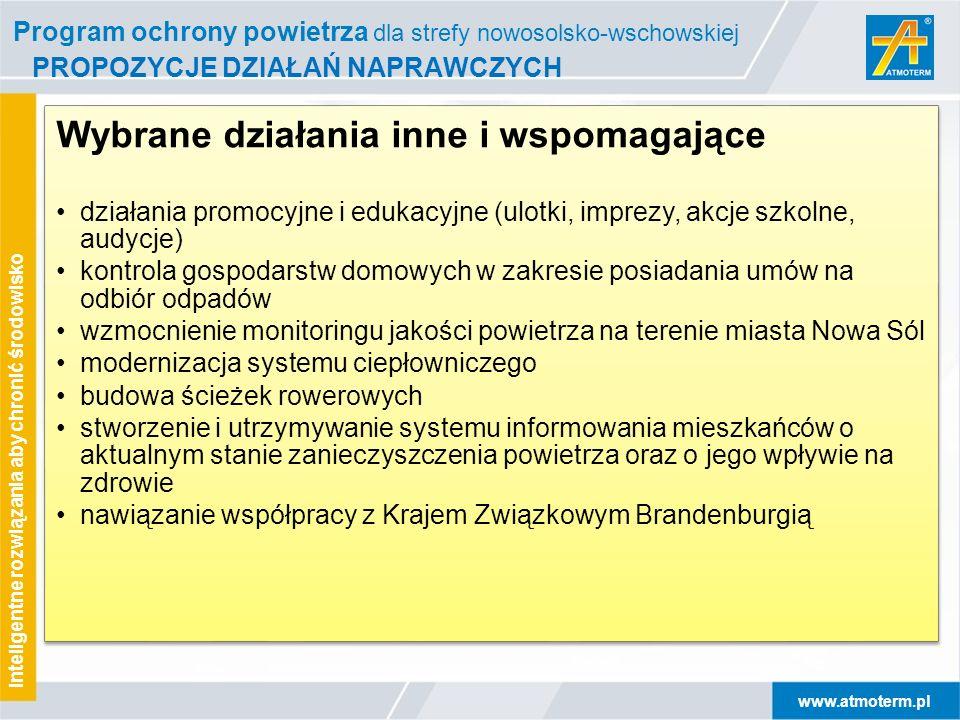 www.atmoterm.pl Inteligentne rozwiązania aby chronić środowisko PROPOZYCJE DZIAŁAŃ NAPRAWCZYCH Wybrane działania inne i wspomagające działania promocy