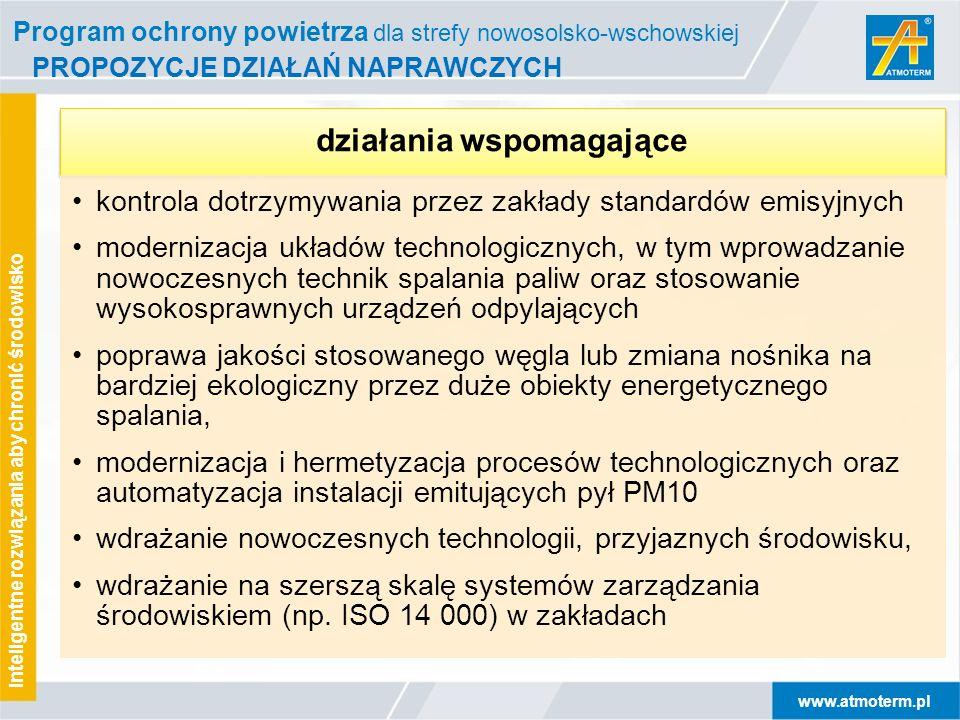 www.atmoterm.pl Inteligentne rozwiązania aby chronić środowisko PROPOZYCJE DZIAŁAŃ NAPRAWCZYCH działania wspomagające kontrola dotrzymywania przez zak