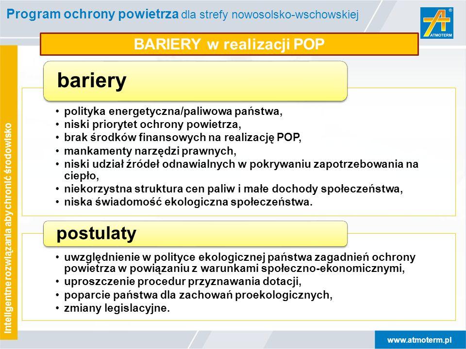 www.atmoterm.pl Inteligentne rozwiązania aby chronić środowisko Program ochrony powietrza dla strefy nowosolsko-wschowskiej BARIERY w realizacji POP p