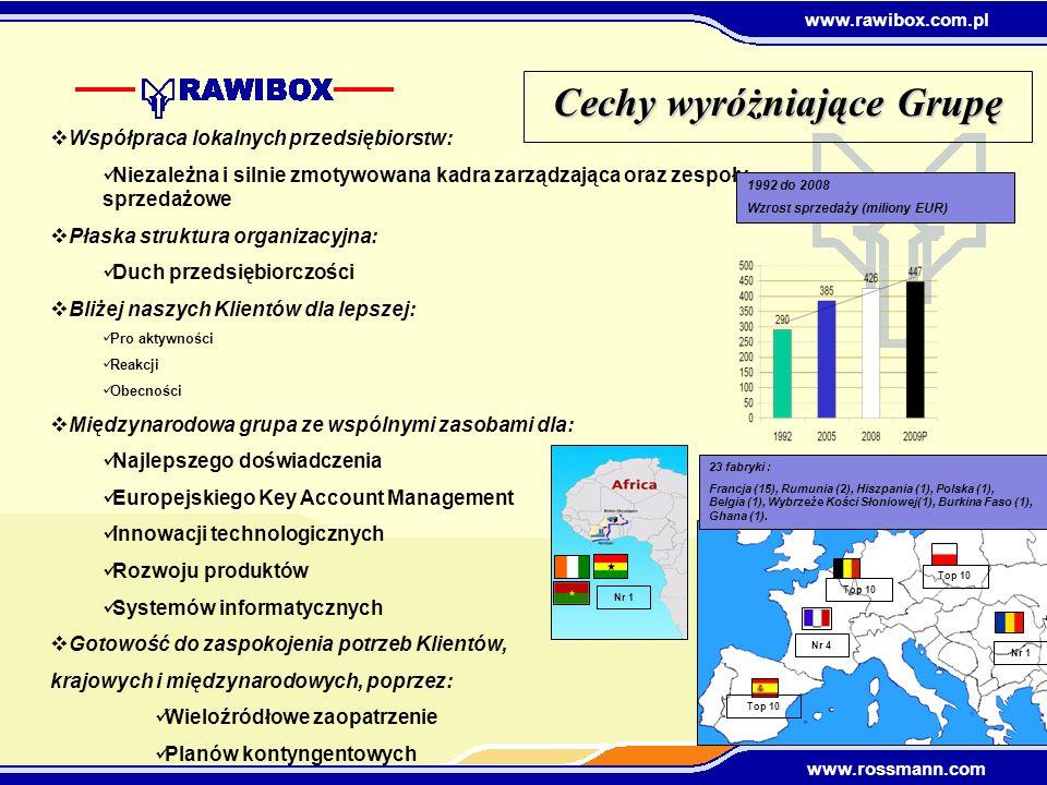 www.rawibox.com.pl www.rossmann.com Cechy wyróżniające Grupę Współpraca lokalnych przedsiębiorstw: Niezależna i silnie zmotywowana kadra zarządzająca