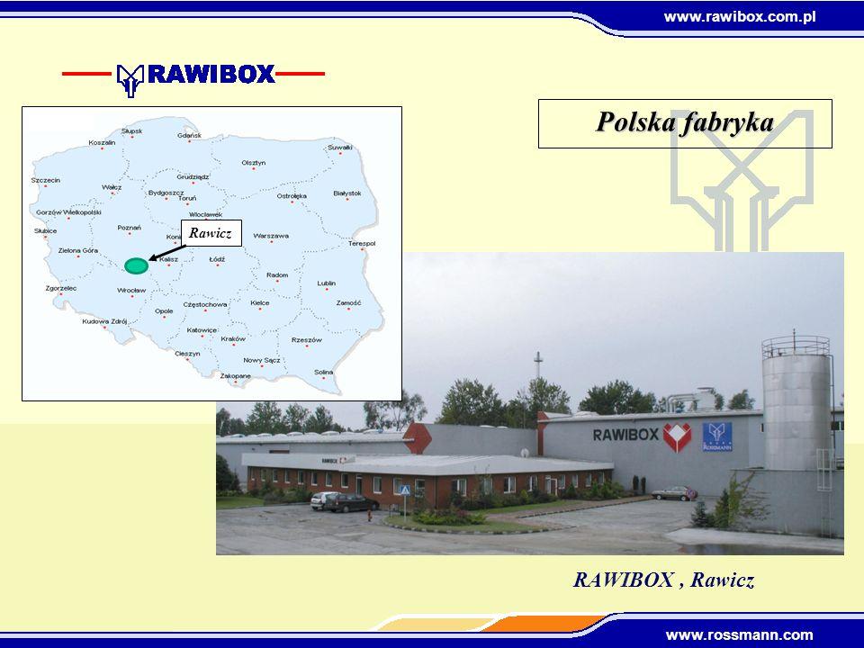 www.rawibox.com.pl www.rossmann.com Dane liczbowe & maszyny 2008 Obroty : PLN 49 milionów = EUR 12 milionów Wielkość produkcji (m 2 ) : 16 000 T = 29 milionów m 2 Zatrudnienie : 137 osób Powierzchnia zakładu– 32 200 m 2 (kryta 14 000 m 2 ) Maszyny : 3Tekturnica 245 cm TERDECA 3Maszyna do wykrawaniaASAHI 33 slotery do pudeł klapowych : CURIONI 2000 NT CURIONI 3700 PLUS MARTIN 924 3Składarko-sklejarka POST 3Zszywarka SODEME