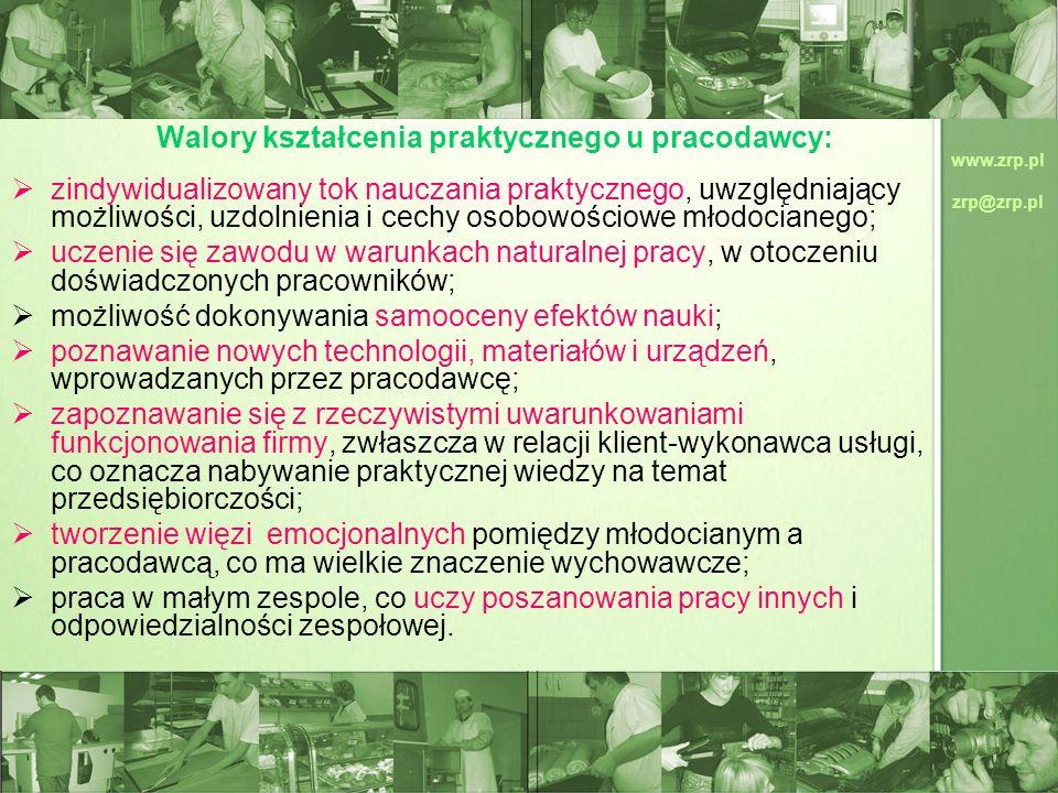 www.zrp.pl zrp@zrp.pl Walory kształcenia praktycznego u pracodawcy: zindywidualizowany tok nauczania praktycznego, uwzględniający możliwości, uzdolnie