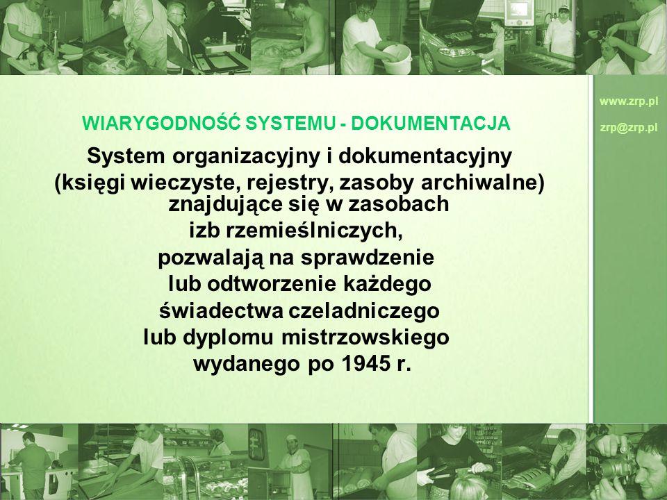 www.zrp.pl zrp@zrp.pl WIARYGODNOŚĆ SYSTEMU - DOKUMENTACJA System organizacyjny i dokumentacyjny (księgi wieczyste, rejestry, zasoby archiwalne) znajdu