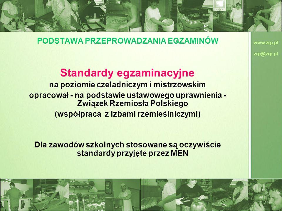 www.zrp.pl zrp@zrp.pl PODSTAWA PRZEPROWADZANIA EGZAMINÓW Standardy egzaminacyjne na poziomie czeladniczym i mistrzowskim opracował - na podstawie usta
