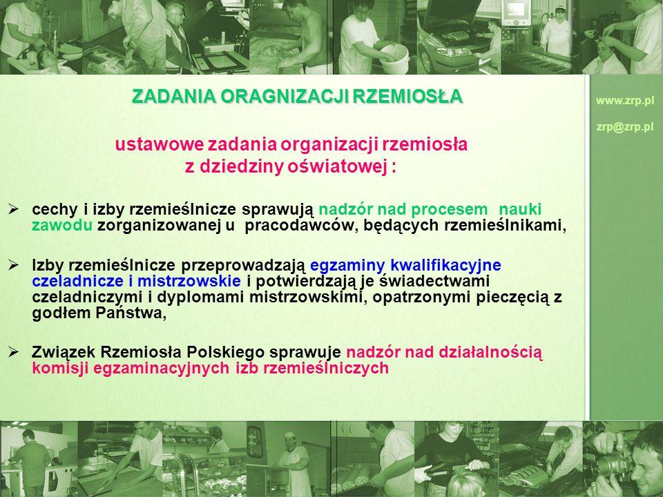 www.zrp.pl zrp@zrp.pl ZADANIA ORAGNIZACJI RZEMIOSŁA ustawowe zadania organizacji rzemiosła z dziedziny oświatowej : cechy i izby rzemieślnicze sprawuj