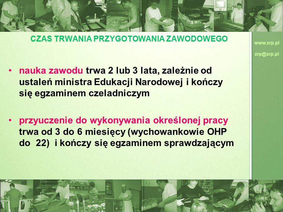 www.zrp.pl zrp@zrp.pl CZAS TRWANIA PRZYGOTOWANIA ZAWODOWEGO nauka zawodu trwa 2 lub 3 lata, zależnie od ustaleń ministra Edukacji Narodowej i kończy s