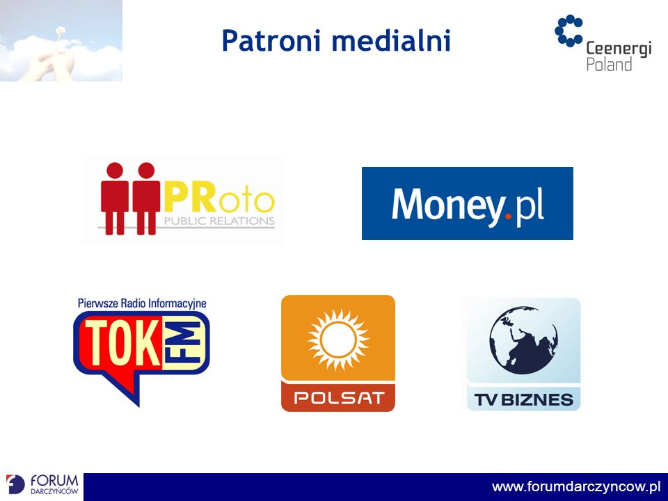 www.forumdarczyncow.pl Cele konkursu promocja zaangażowania społecznego firm i zachęcenie firm do informowania o swoich działaniach wyłonienie firm, które przekazują najwięcej środków na wspieranie inicjatyw społecznych porównanie wielkości środków przekazywanych przez firmy w Polsce i w innych krajach Europy