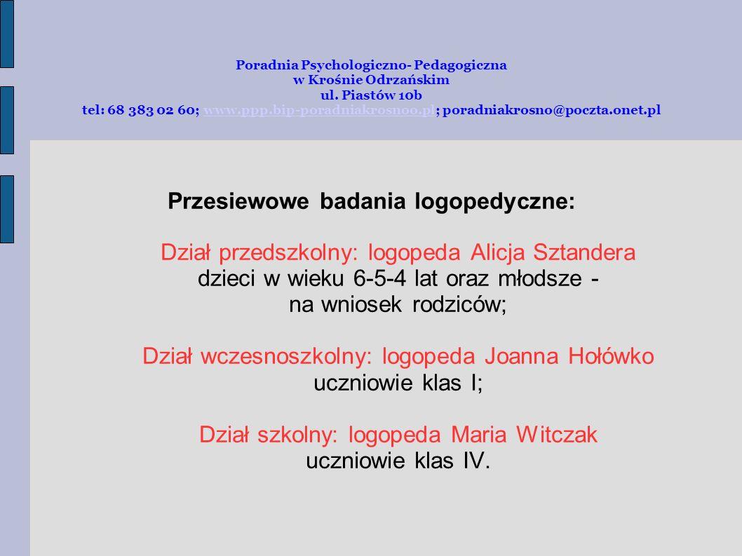 Poradnia Psychologiczno- Pedagogiczna w Krośnie Odrzańskim ul.