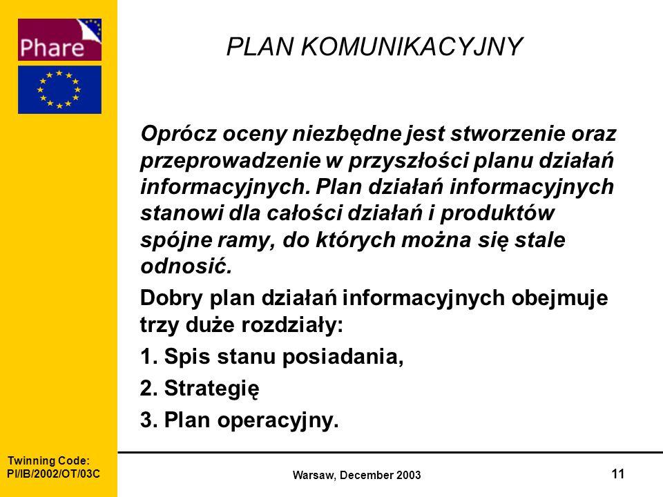 Twinning Code: Pl/IB/2002/OT/03C Warsaw, December 2003 11 PLAN KOMUNIKACYJNY Oprócz oceny niezbędne jest stworzenie oraz przeprowadzenie w przyszłości planu działań informacyjnych.