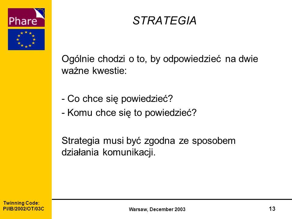 Twinning Code: Pl/IB/2002/OT/03C Warsaw, December 2003 13 STRATEGIA Ogólnie chodzi o to, by odpowiedzieć na dwie ważne kwestie: - Co chce się powiedzieć.