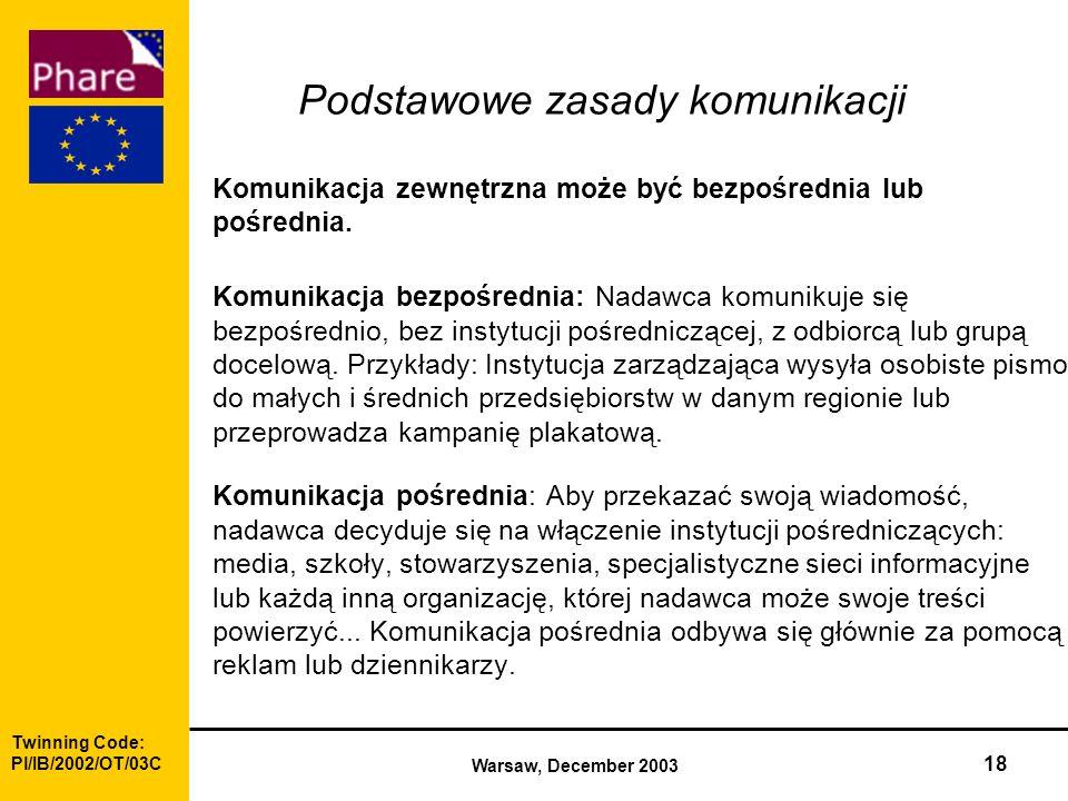 Twinning Code: Pl/IB/2002/OT/03C Warsaw, December 2003 18 Podstawowe zasady komunikacji Komunikacja zewnętrzna może być bezpośrednia lub pośrednia.