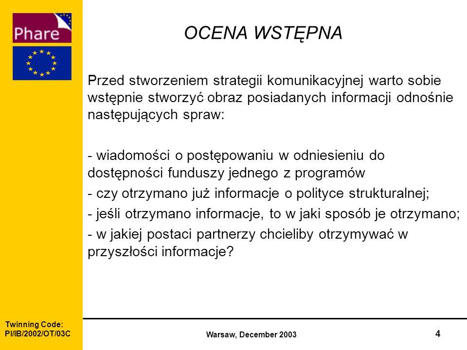 Twinning Code: Pl/IB/2002/OT/03C Warsaw, December 2003 4 OCENA WSTĘPNA Przed stworzeniem strategii komunikacyjnej warto sobie wstępnie stworzyć obraz posiadanych informacji odnośnie następujących spraw: - wiadomości o postępowaniu w odniesieniu do dostępności funduszy jednego z programów - czy otrzymano już informacje o polityce strukturalnej; - jeśli otrzymano informacje, to w jaki sposób je otrzymano; - w jakiej postaci partnerzy chcieliby otrzymywać w przyszłości informacje