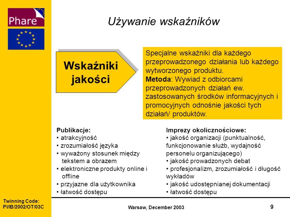 Twinning Code: Pl/IB/2002/OT/03C Warsaw, December 2003 9 Wskaźniki jakości Wskaźniki jakości Specjalne wskaźniki dla każdego przeprowadzonego działania lub każdego wytworzonego produktu.