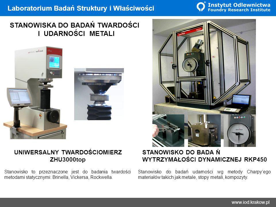 Wyniki www.iod.krakow.pl Laboratorium Badań Struktury i Właściwości STANOWISKA DO BADAŃ TWARDOŚCI I UDARNOŚCI METALI Stanowisko to przeznaczone jest d