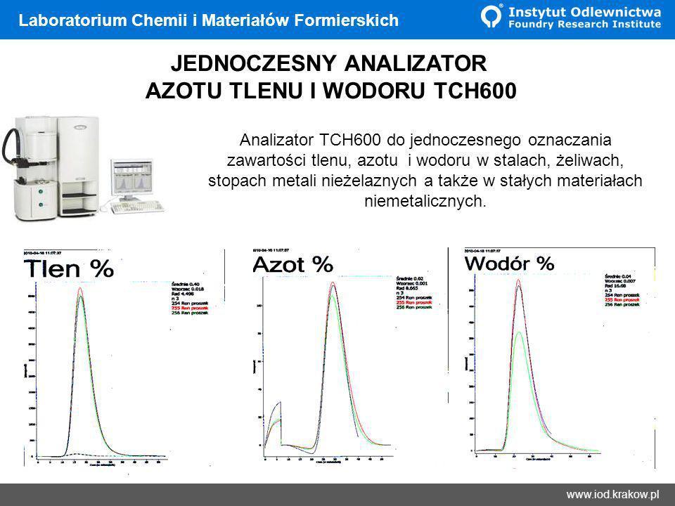 Wyniki www.iod.krakow.pl Laboratorium Chemii i Materiałów Formierskich JEDNOCZESNY ANALIZATOR AZOTU TLENU I WODORU TCH600 Analizator TCH600 do jednocz