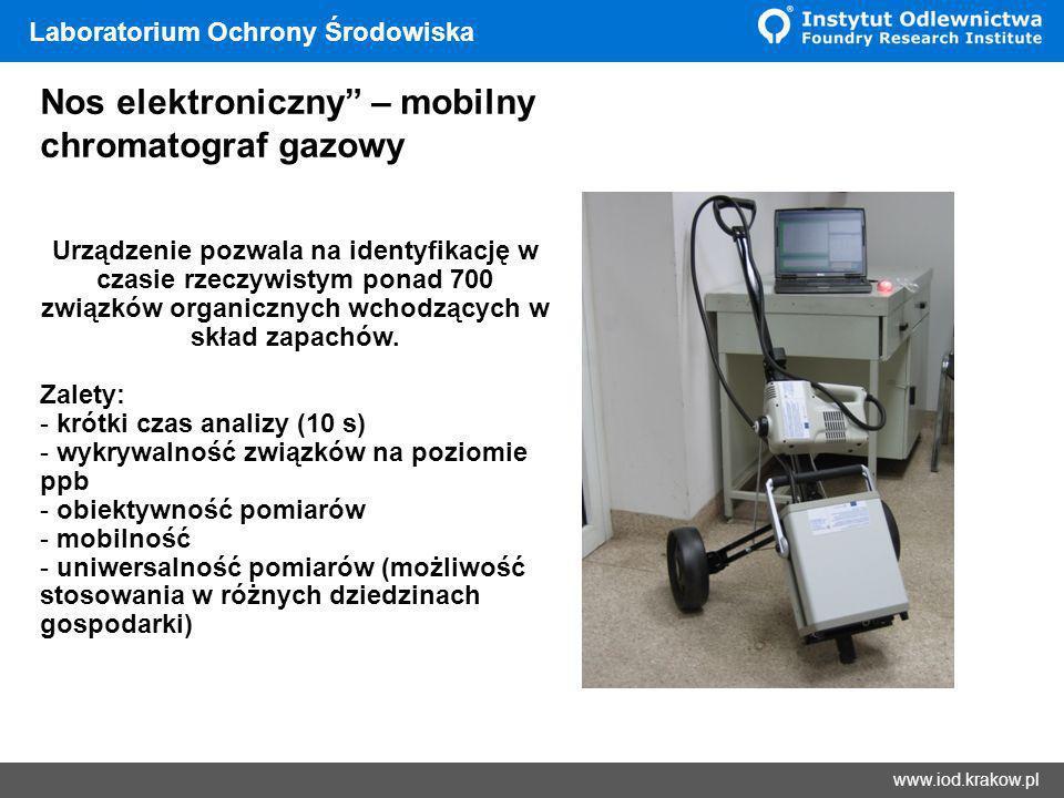 Wyniki www.iod.krakow.pl Laboratorium Ochrony Środowiska Nos elektroniczny – mobilny chromatograf gazowy Urządzenie pozwala na identyfikację w czasie