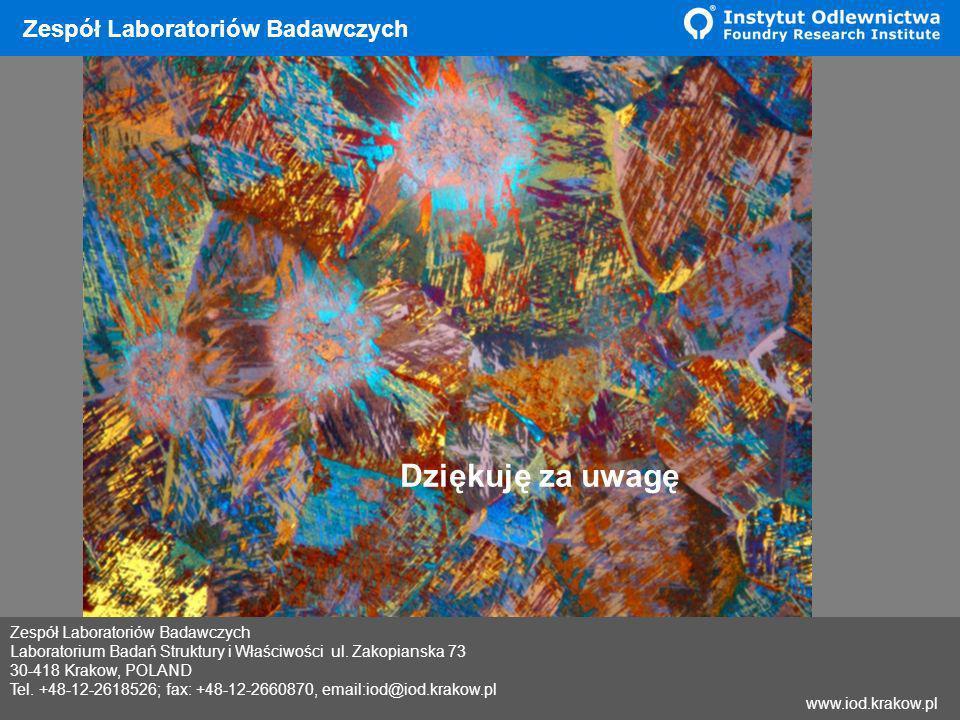 Wyniki Zespół Laboratoriów Badawczych Laboratorium Badań Struktury i Właściwości ul. Zakopianska 73 30-418 Krakow, POLAND Tel. +48-12-2618526; fax: +4