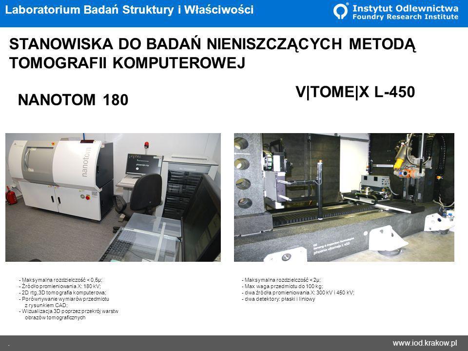 www.iod.krakow.pl. Laboratorium Badań Struktury i Właściwości STANOWISKA DO BADAŃ NIENISZCZĄCYCH METODĄ TOMOGRAFII KOMPUTEROWEJ NANOTOM 180 V|TOME|X L