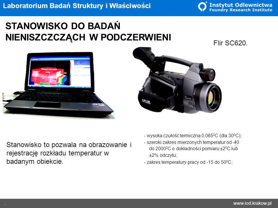 www.iod.krakow.pl. Laboratorium Badań Struktury i Właściwości STANOWISKO DO BADAŃ NIENISZCZCZĄCH W PODCZERWIENI Stanowisko to pozwala na obrazowanie i