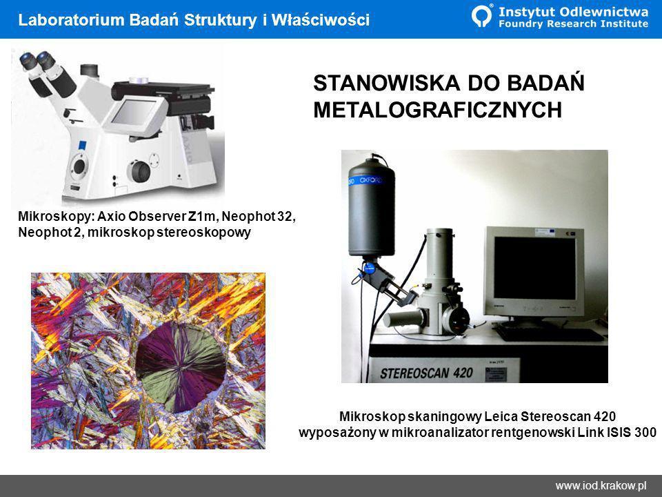 Wyniki www.iod.krakow.pl Laboratorium Badań Struktury i Właściwości Laboratorium posiada certyfikat akredytacji wg normy PN-EN ISO/IEC 17025: 2005 na następujące badania: - pomiar powierzchni, obwodu, liczby składników mikrostruktury (Aphelion) - ocenę kształtu, wielkości i rozmieszczenia wydzieleń grafitu wg PN-ISO 945-1, PN-75/H-04661 (metoda porównawcza) - metalograficzne badanie wielkości ziarna wg ASTM E 112-96 (2004), PN- EN ISO 643: 2005, PN-EN ISO 2624:1997 Badania akredytowane